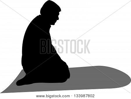 performing five time prayer, silhouette of a Muslim Praying