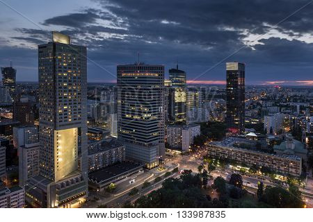 Aerial view of Warsaw Financial Center at night Poland