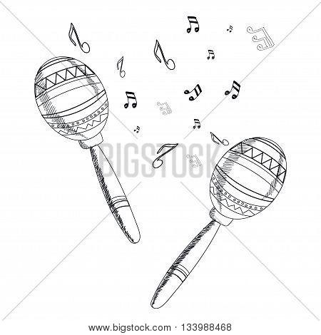 musical instrument maracas on white background. Vector.
