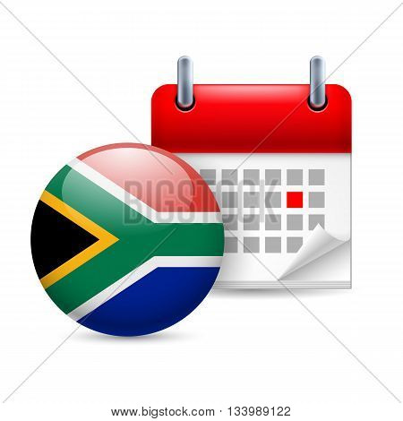 Calendar and round flag icon. National holiday in South Africa