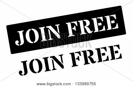 Join Free Black Rubber Stamp On White