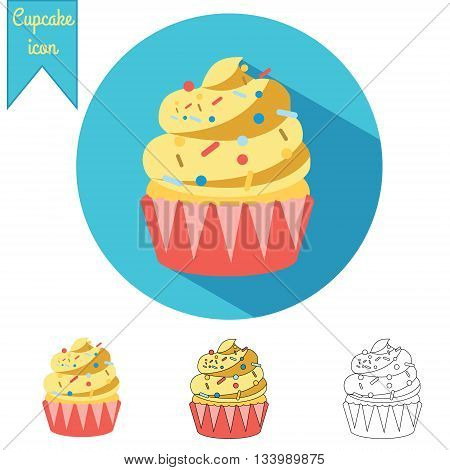 Creamy cupcake vector isolated icons set in three styles flt with long shadow hand drawn and outline. Vector illustration for your business menu banners and other design
