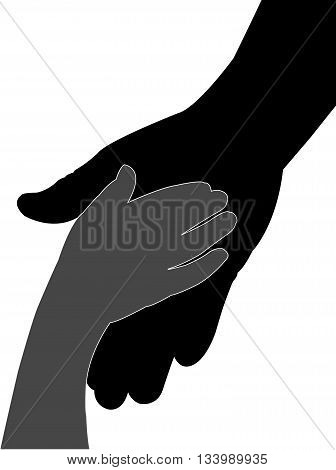 hand in hand black color silhouette vector