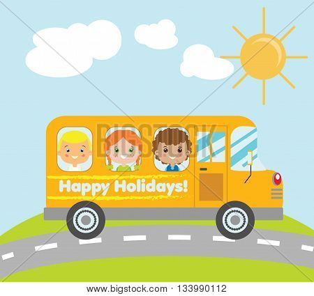Kids travelling in yellow school bus. Summer holidays children theme vector illustration. Happy holidays school bus with smiling kids and summer background vector illustration.