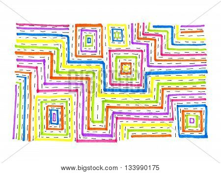 Abstract colorful rectangular pattern on white background