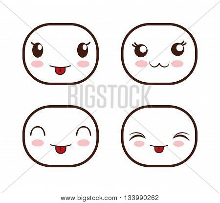 Set of four cute faces with different expressions and emotions, flat and kawaii style emoticons, white design, vector illustration