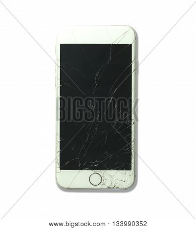 white smartphone broken screen and have damaged isolated on white background with clipping paths.