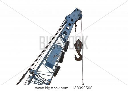 big crane of heavy machinery factory isolated on white background.