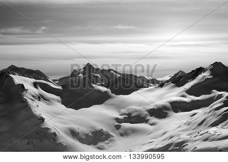 Black And White Snowy Mountains In Evening