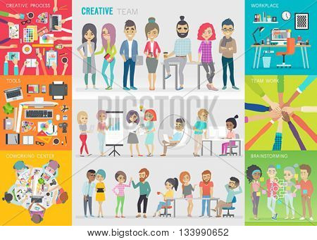Creative team set. Vector illustration.