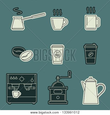 Coffee icons set. Vector line icons coffee machine, cups, coffee beans and coffee pots.