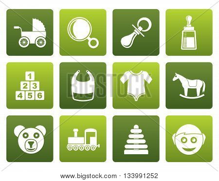 Flat baby and children icons - vector icon set