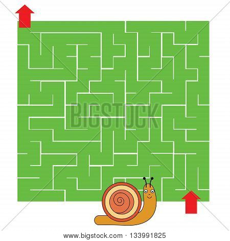 Maze children game: help the snail go through the labyrinth