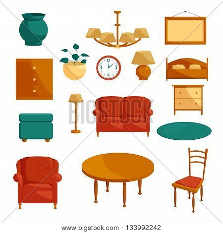Furniture icons set in cartoon style isolated on white background
