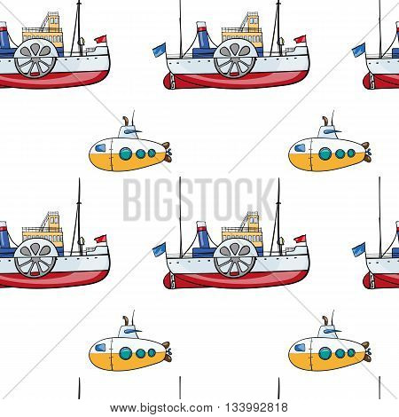 vector seamless pattern. Hand drawn water transport. kids toy steamship, submarine