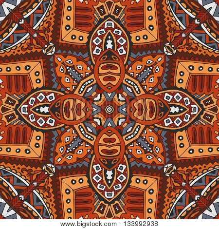 vector abstract ethnic vintage seamless orange pattern tribal background