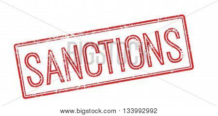 Sanctions Red Rubber Stamp On White