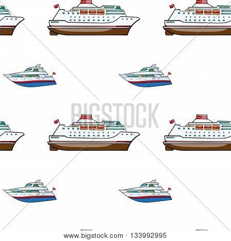 vector seamless pattern. Hand drawn water transport. kids toy , yacht, cruise
