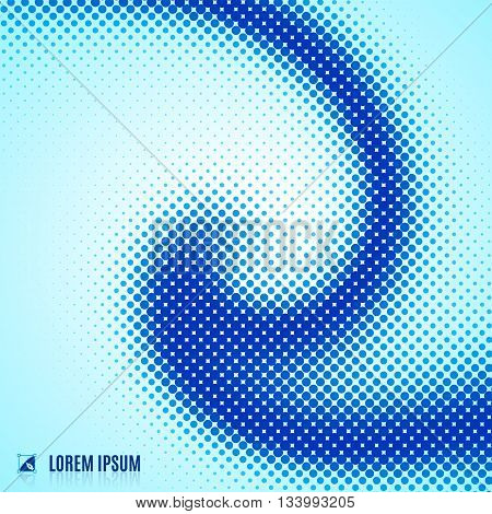 abstract blue blurred curve decorative background with halftone geometric element spiral stream swirl dots and vortex