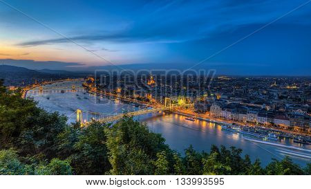 Night view of Budapest,Hungary with Elisabeth bridge over Danube river from fortress Citadel