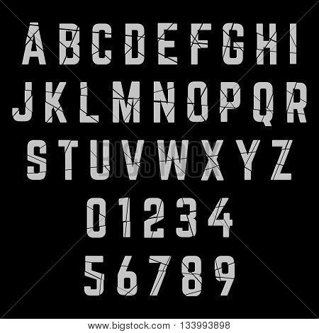 Alphabet broken font template. Letters and numbers. Vector illustration.