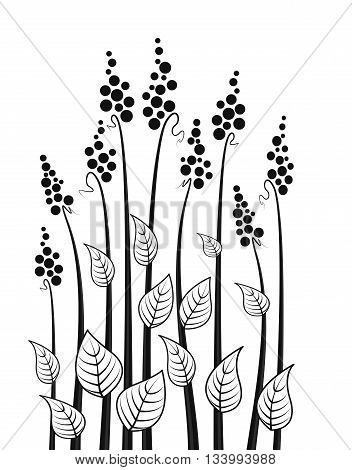 Vector abstract decorative meadow flowers, floral silhouette