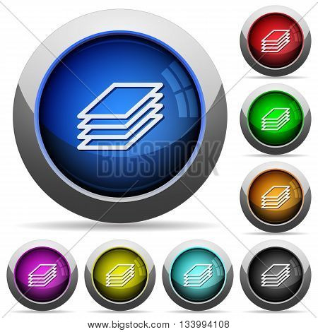 Set of round glossy Printing papers buttons. Arranged layer structure.