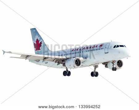 Montreal Canada - February 12 2012: Air Canada A320 from 3/4 view takes off from Trudeau International Airport
