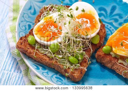 Avocado and egg whole wheat toast with edamame