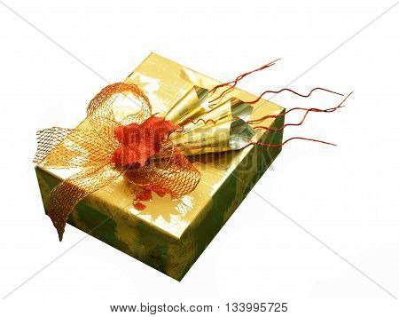 Very luxury packed present in red and gold