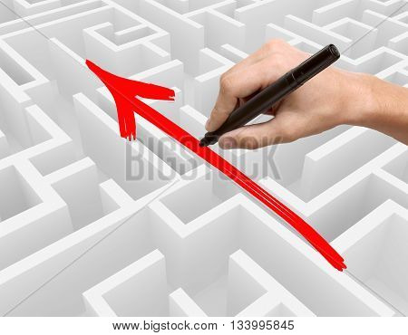 Business obstacle overcoming concept with hand drawing red arrow on complicated maze. Side view 3D Rendering