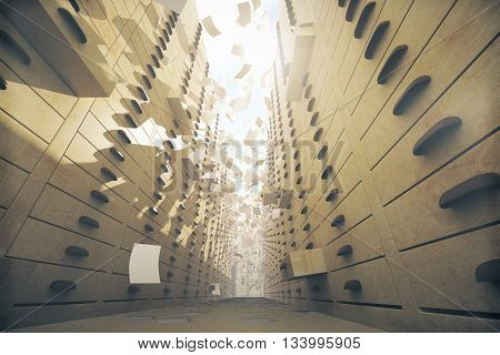 Vintage archive interior with open drawers and paper flying around. 3D Rendering