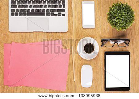 White Tablet On Office Desktop
