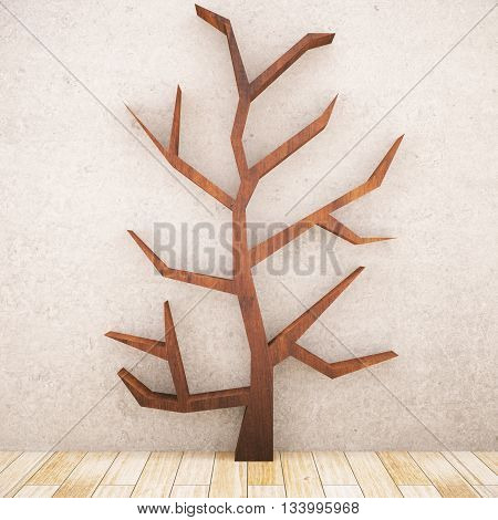 Abstract wooden tree in room with concrete wall and parquet floor. 3D Rendering