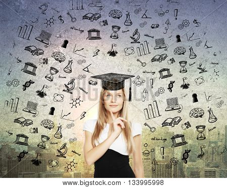 Graducation concept with thoughtful businesswoman in mortar board cap on abstract city background with black educational sketches