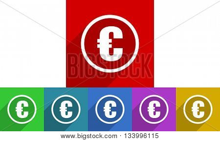 euro vector icons set, flat design colored internet buttons, web and mobile app illustration