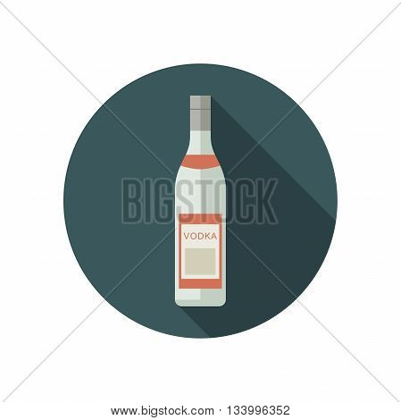 Vodka icon in flat style. Vector flat bottle of russian vodka.