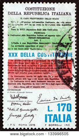 ITALY - CIRCA 1978: a stamp printed in Italy dedicated to the Constitution 30th Anniversary circa 1978