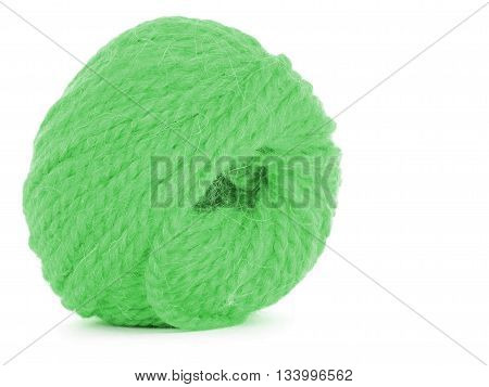 Clew of thread green twine isolated on white background