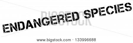 Endangered Species Black Rubber Stamp On White