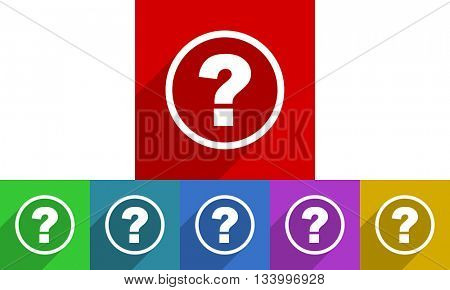 question mark vector icons set, flat design colored internet buttons, web and mobile app illustration