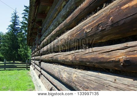 Old Wooden Blockhouse Wall