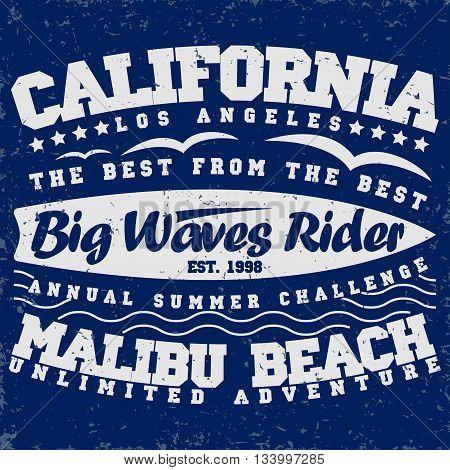 Grunge Surfing t-shirt graphic design grange surfing print stamp California surfers wear typography emblem Creative design Vector