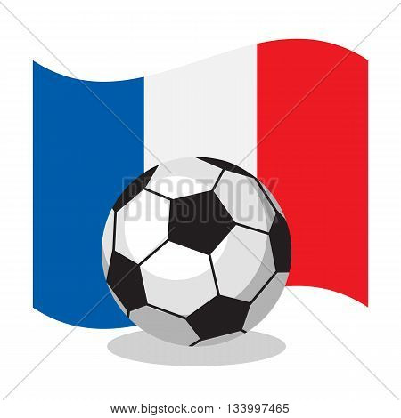Football or soccer ball with french flag on white background. Cartoon ball. Concept of championship, league, team sport.