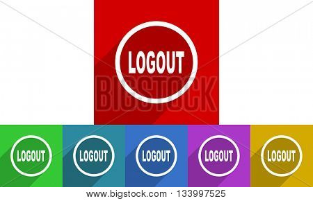 logout vector icons set, flat design colored internet buttons, web and mobile app illustration
