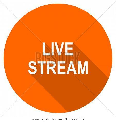 live stream vector icon, orange circle flat design internet button, web and mobile app illustration