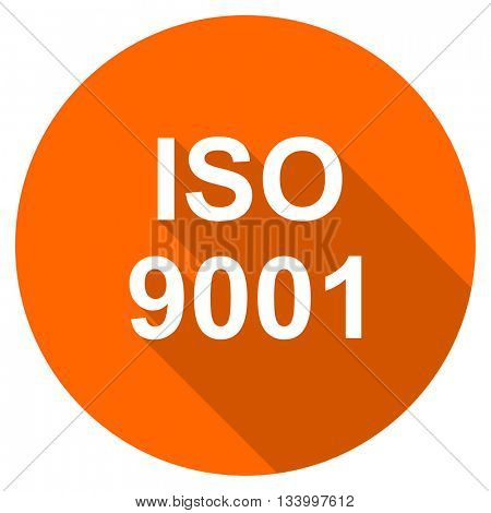 iso 9001 vector icon, orange circle flat design internet button, web and mobile app illustration