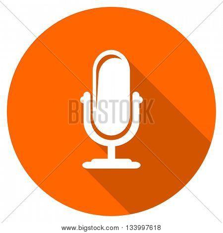 microphone vector icon, orange circle flat design internet button, web and mobile app illustration