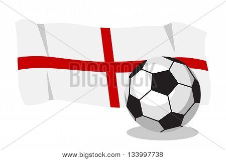 Football or soccer ball with english flag on white background. Cartoon ball. Concept of championship, league, team sport.