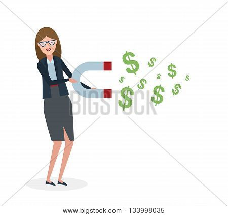 Businesswoman with magnet on white background. Businesswoman holding magnet. Magnetize money, wealth, finance. Earn money.